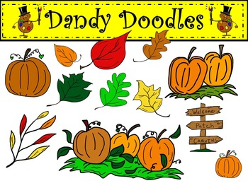 Pumpkins and Leaves Clip Art by Dandy Doodles