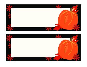 Pumpkins and Leaves on Black Set of 2 Deskplates/Nameplates
