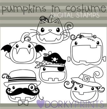 Pumpkins in Costume Halloween Blackline Clip Art