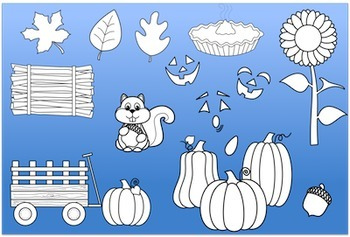 Pumpkins in Fall Clipart - Black Lines included