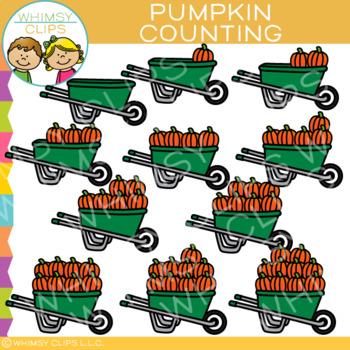 Pumpkins in a Wheelbarrow Counting Clip Art