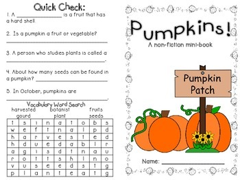 Pumpkins! non-fiction minibook