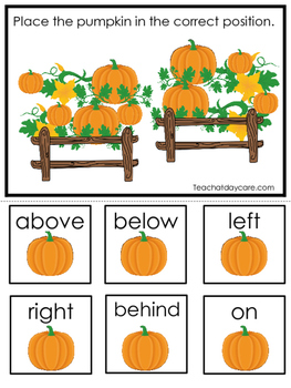 Pumpkins themed Positional Game.  Printable Preschool Curriculum Game