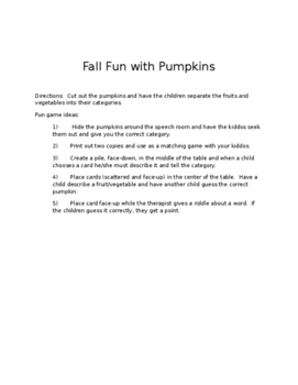 Pumpkins with fruit/vegetable categories