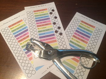Punch Card - Chore Chart - EDITABLE - Blank Fields