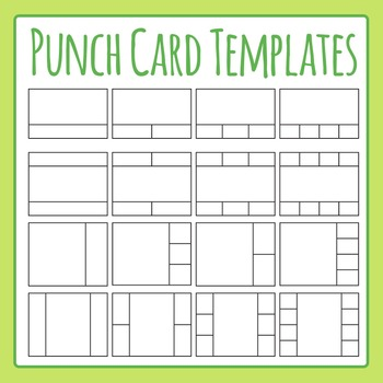 Punch Card Templates Clip Art Set for Commercial Use