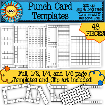 Punch Card Templates And Clip Art By Deeder Do Designs Tpt