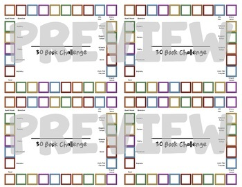 Punch Card for 30 Book Challenge