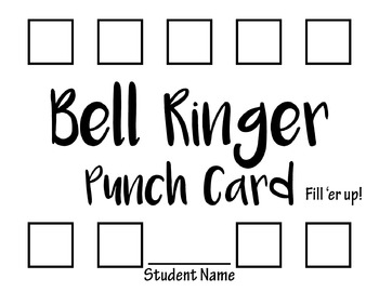 Punch Card for Bell Ringers