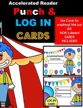 AR Punch & LOG IN CARDS~ Circus Theme (non labeled cards included!)