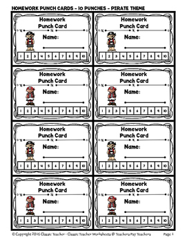 Punch Cards - Homework Punch Cards (Year-Round) - 10 Punches