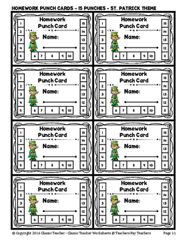 Punch Cards - Homework Punch Cards (Year-Round) - 15 Punches