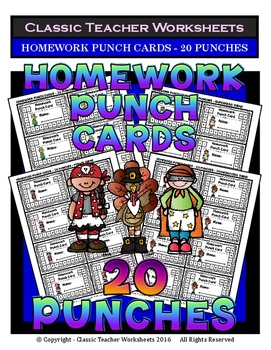 Punch Cards - Homework Punch Cards (Year-Round) - 20 Punches