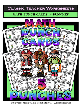 Punch Cards - Math Punch Cards (Year-Round) - 5 Punches
