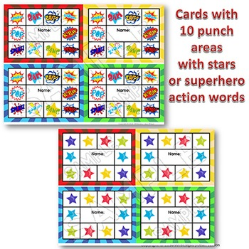 Punch Cards SUPERHERO Themed for Behavior Management and Goals / Tracking