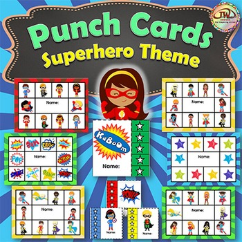 Punch Cards SUPERHERO Themed