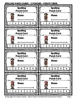 Punch Cards - Spelling Punch Cards (Year-Round) - 5 Punches