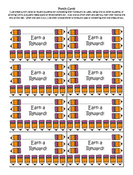 Punch Cards and Passes~ Used for Incentives