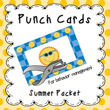 Behavior Management Punch Cards- Summer Freebie