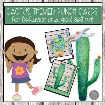 Punch Cards for Goal Setting and Behavior Management Cactus Themed