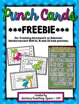Punch Cards For Homework Behavior Reinforcement Rewards - Free editable punch card template
