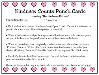 Kindness Kritters Punch Cards