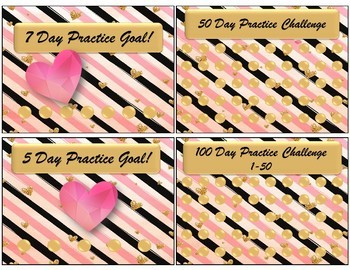 Punch Challenge Cards - Golden Hearts