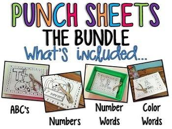 Punch Sheets / Printables { THE BUNDLE } ABC's, Numbers, Color & Number Words
