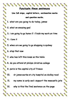 Punctuate These Sentences