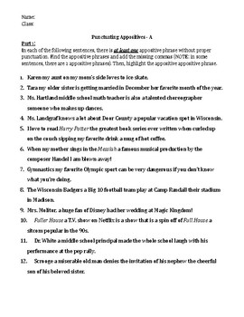 Punctuating Appositive Phrases- Worksheet with MODIFIED option