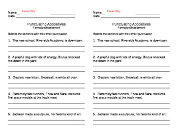 Punctuating Appositives Formative 3