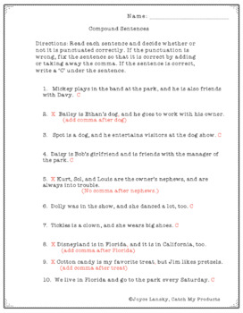 Writing Process : Punctuating Compound Sentences Practice & Writing Prompt