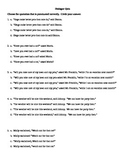 Punctuating Dialogue Multiple Choice Quiz