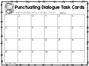 Punctuating Dialogue: Multiple Choice Quotation Mark Task Cards