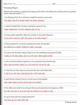 Punctuating Dialogue Quiz #2