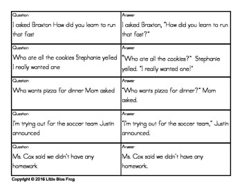 Punctuating Dialogue--quiz-quiz-trade