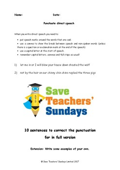 Punctuating Direct Speech Lesson Plan and Worksheet (Fairy Tale Lines)