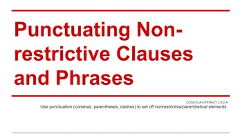 Punctuating Non-restrictive Clauses