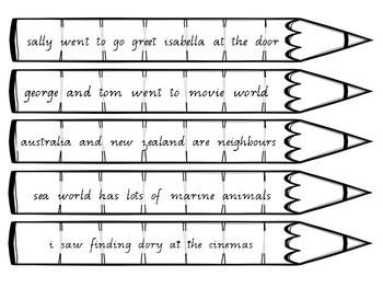 Punctuating Pencils 60 x Capital Letters, Full Stops, Commas