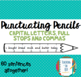Punctuating Pencils 60 x Capital Letters, Full Stops,Commas