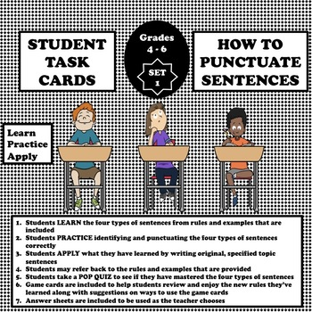 Punctuating The Four Types of Sentences Task Cards - For learning or reviewing