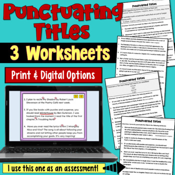 Punctuating Titles Worksheets