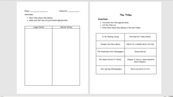 Punctuating Titles Cut and Paste Worksheet *EDITABLE*