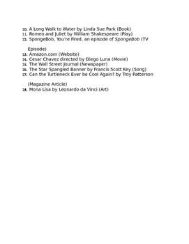 Punctuating Titles Practice Worksheet