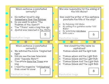 Punctuating Titles 5th Grade Common Core Aligned Language Task Cards