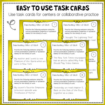 Punctuating Titles of Work Task Card Set
