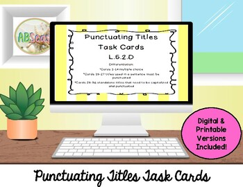 Punctuating Titles with Capitalization Task Cards