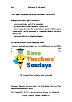 Punctuating direct speech Worksheet