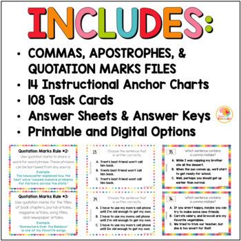 Punctuation Practice Activities BUNDLE - Commas, Quotation Marks, & Apostrophes