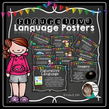 Figurative Language Posters in chalkboard for the junior classroom